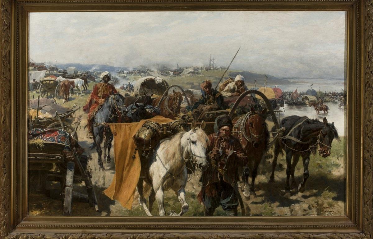 """Józef Brandt (1841–1915), """"Obóz Zaporożców"""", (ok. 1880), Muzeum Narodowe w Warszawie, nr inw. MP 670 MNW (źródło: materiały prasowe organizatora)"""