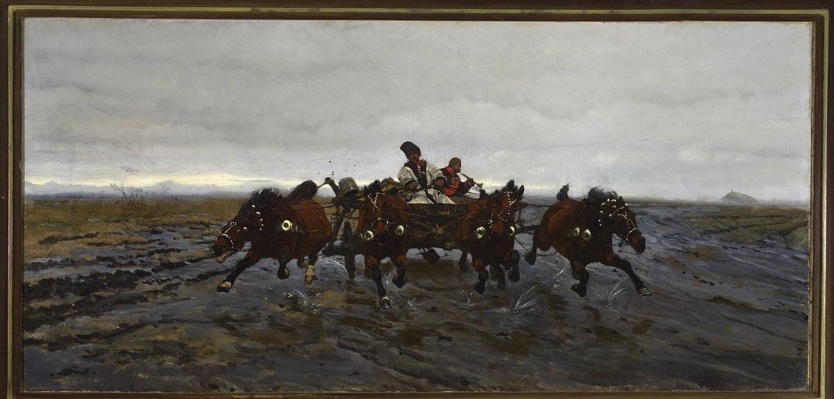 """Józef Chełmoński (1849–1914), """"Czwórka"""", 1880, Muzeum Narodowe w Warszawie, nr inw. MP 1927 MNW (źródło: materiały prasowe organizatora)"""