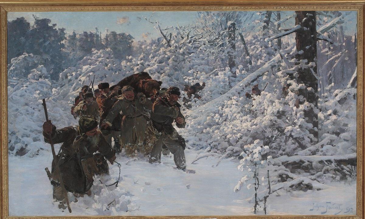 """Julian Fałat, """"Powrót z polowania na niedźwiedzia"""", 1892; 151,5 x 255 ,olej; płótno, nr inw. MP 563 (źródło: materiały prasowe organizatora)"""