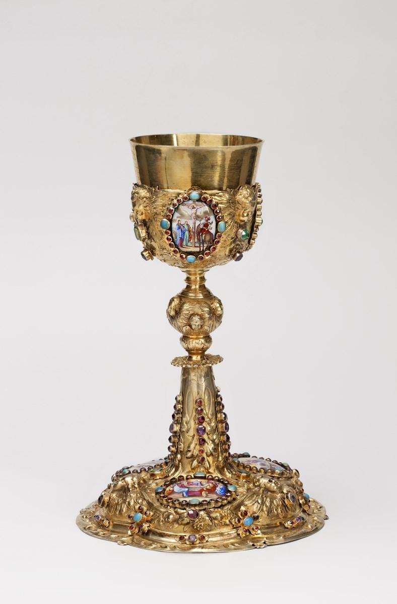 """Michael Mair (czynny w latach 1677–1714), """"Kielich mszalny"""",1695–1700, Augsburg (Niemcy), 1695–1700, Muzeum Archidiecezjalne w Warszawie, nr inw. MAW – 6729 (źródło: materiały prasowe organizatora)"""