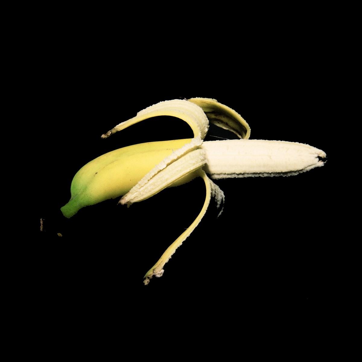 """Natalia LL, """"Banan II"""", 1995–2009, wydruk, płótno, 20 x 20 cm. Dzięki uprzejmości artystki (źródło: materiały prasowe organizatora)"""