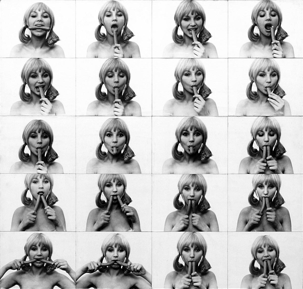 """Natalia LL, """"Sztuka konsumpcyjna"""", 1972, kadry z filmu. Dzięki uprzejmości artystki, 16'01''. Dzięki uprzejmości artystki (źródło: materiały prasowe organizatora)"""