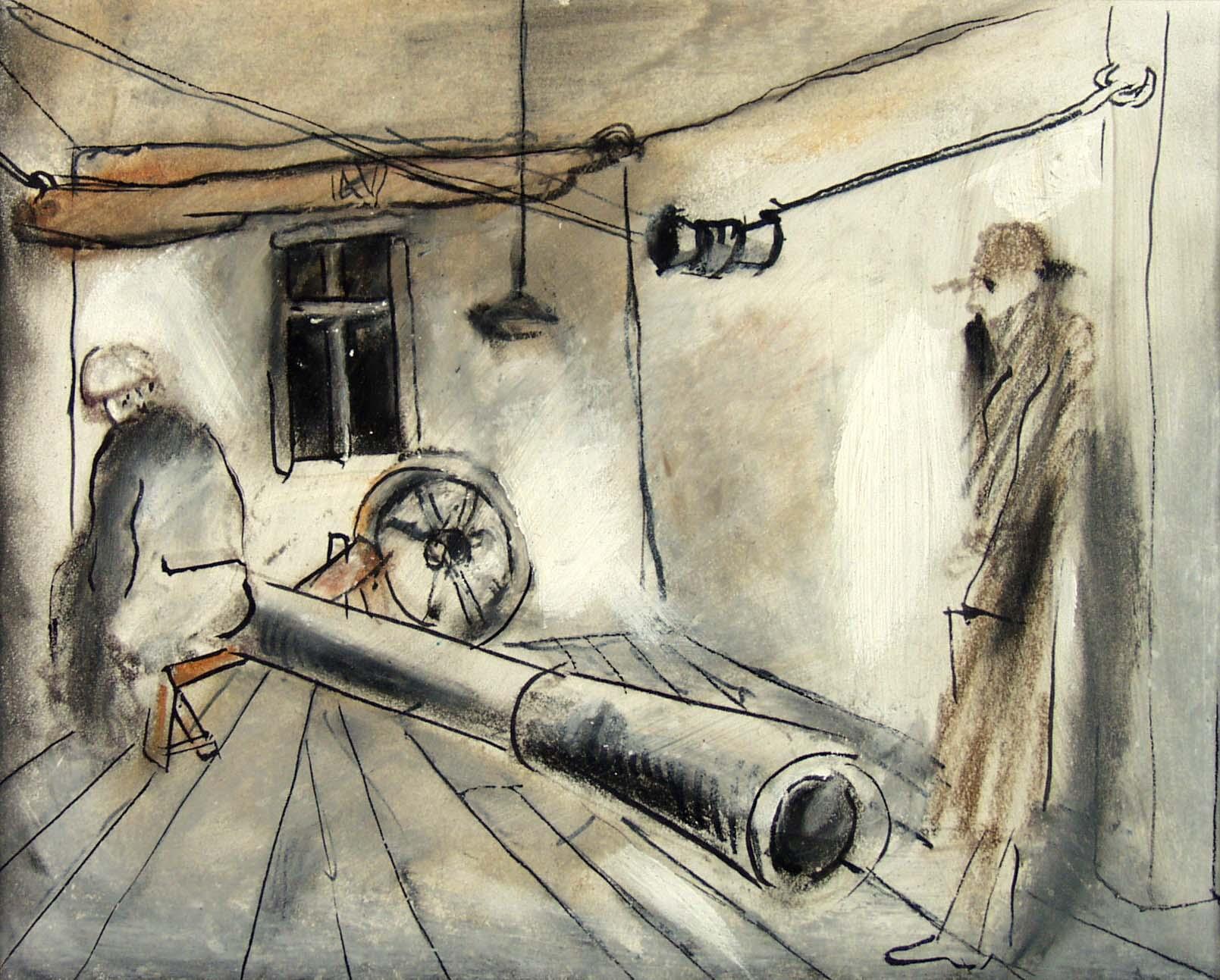 """Tadeusz Kantor, Bez tytułu, """"Powrót Odysa"""" pastel, akryl, flamaster, papier, 15,5x19 (źródło: materiały prasowe organizatora)"""