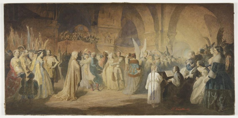 """Teofil Kwiatkowski (1809–1891), """"Polonez Chopina / Bal w Hôtel Lambert w Paryżu"""", 1859, Muzeum Narodowe w Poznaniu, nr inw. Mp 479 (źródło: materiały prasowe organizatora)"""