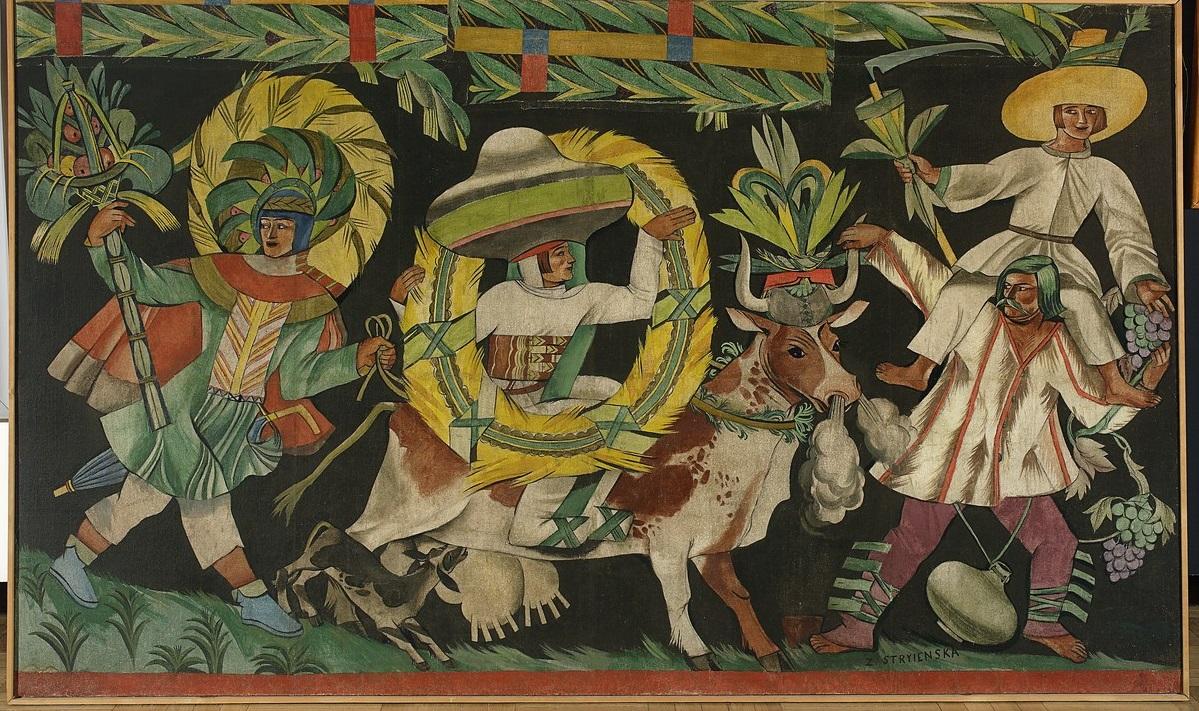 """Zofia Stryjeńska, """"Pory roku. Lipiec-sierpień (Korowód III – z krową)"""", 1925; 164 x 275,5 tempera; płótno nr inw. MPW 1214 (źródło: materiały prasowe organizatora)"""