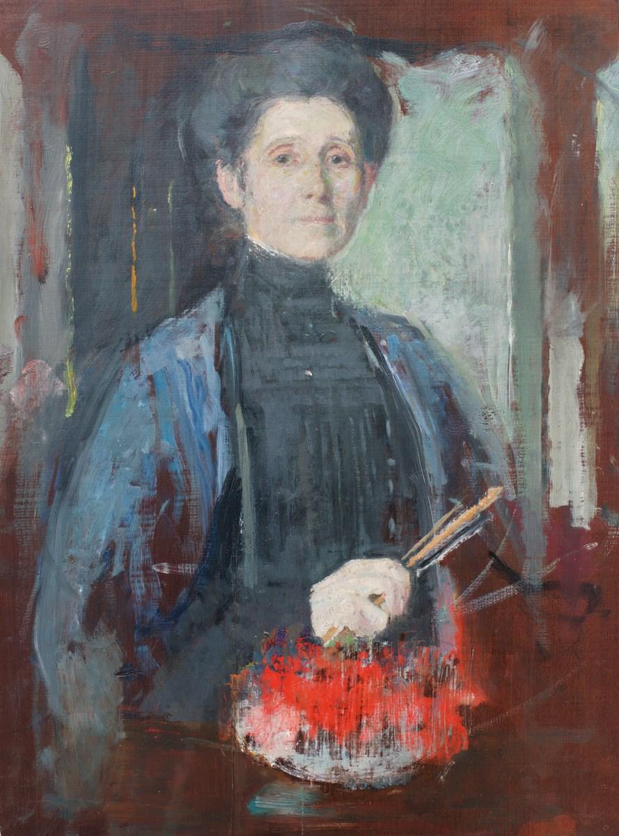 """Olga Boznańska, """"Autoportret z pędzlem i kwiatami"""", ok. 1906. Olej, deska, 48,7 × 36,3 cm. Kolekcja Krzysztofa Musiała (źródło: materiały prasowe organizatora)"""