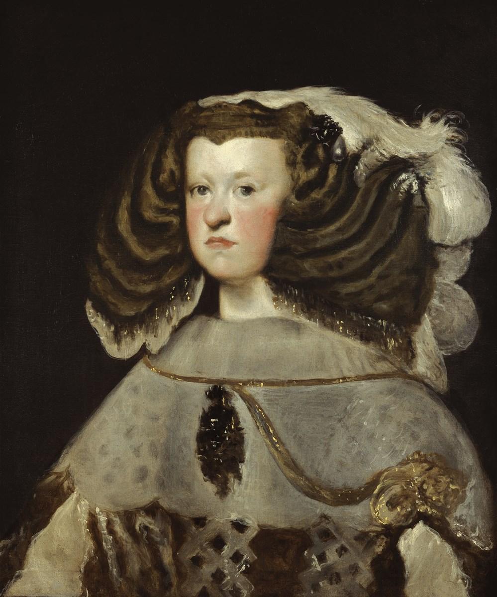 Diego Velázquez, Portret Marianny Austriaczki, królowej Hiszpanii, 1655–1657, olej, płótno, 66 × 56 cm, Museo Thyssen‑Bornemisza, depozyt w Museu Nacional d'Art de Catalunya, Barcelona, nr inw. 416, 1935.15 (źródło: materiały prasowe organizatora)
