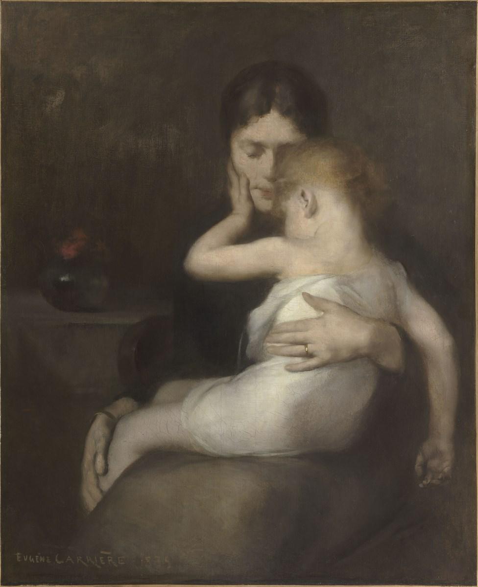 """Eugene Carriere, """"Chore dziecko"""", 1885, olej, płótno, 101 × 82 cm, Musée d'Orsay, Paryż, nr inw. RF 2402 (źródło: materiały prasowe organizatora)"""