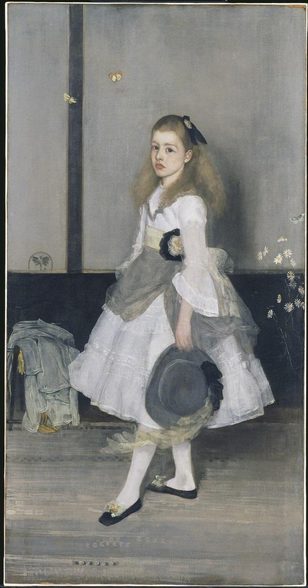 """James Abbott McNeill Whistler, """"Harmonia w szarości i zieleni: Miss Cicely Alexander"""", olej, płótno, 190,2 × 97,8 cm, Tate, Londyn, nr inw. N04 622 (źródło: materiały prasowe organizatora)"""
