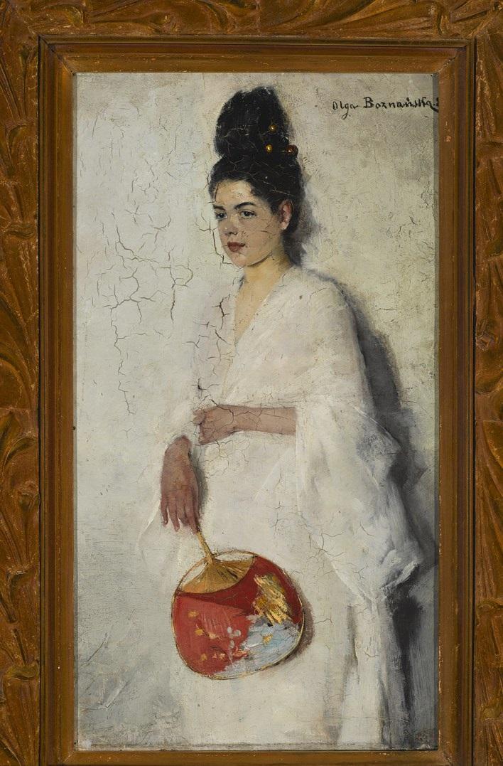 """""""Japonka"""", 1889, Olej, deska, 37 × 21 cm, Sygn. i dat. p. g. Olga Boznańska. 89. Muzeum Narodowe w Warszawie, nr inw. MNW MP 5534, Zakup, 2012 (źródło: materiały prasowe organizatora)"""