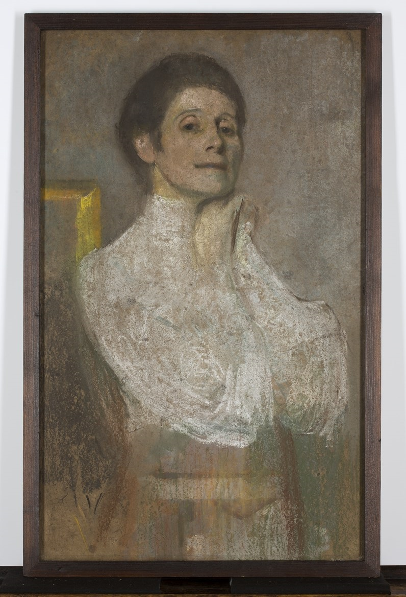 """Olga Boznańska, """"Autoportret"""", ok. 1906, pastel, gwasz, kredka, tektura, 74 × 43,5 cm, Muzeum Narodowe w Warszawie, nr inw. 158 053 MNW (źródło: materiały prasowe organizatora)"""