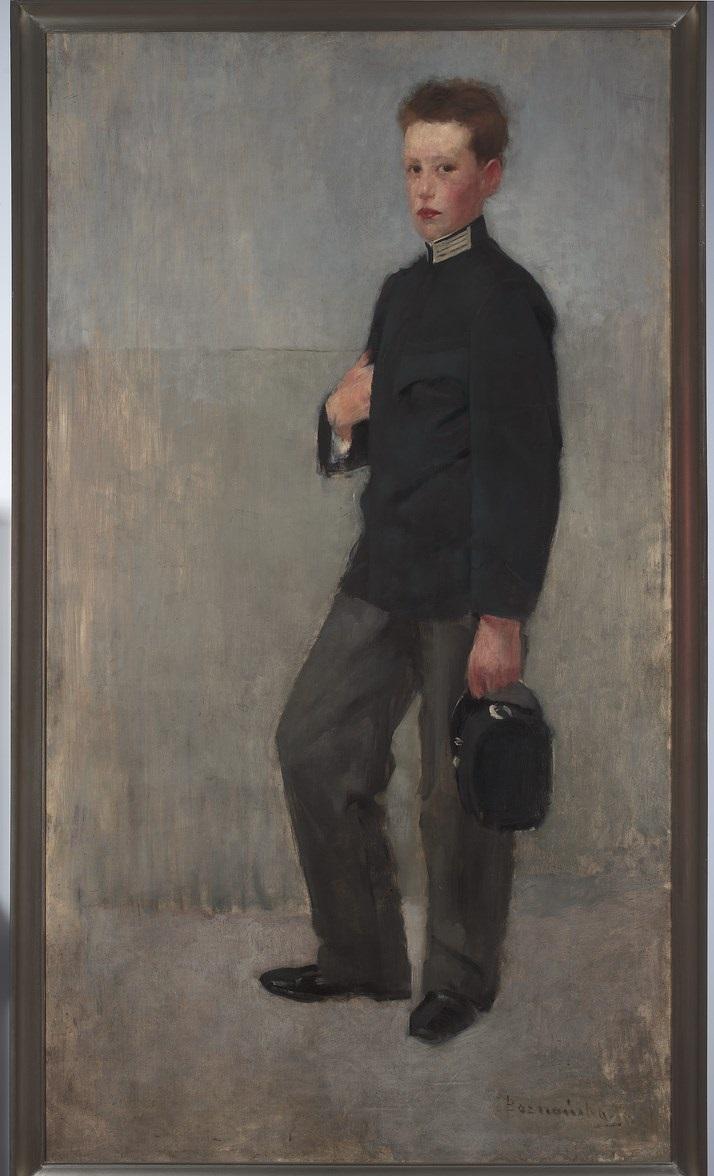 Portret chłopca w gimnazjalnym mundurku, ok. 1890 Olej, płótno, 180 × 100 cm Sygn. p. d. Boznańska, inskrypcja na krośnie ołówkiem: portret München Muzeum Narodowe w Warszawie, nr inw. MP 2153 Zakup, 1986 (źródło: materiały prasowe organizatora)