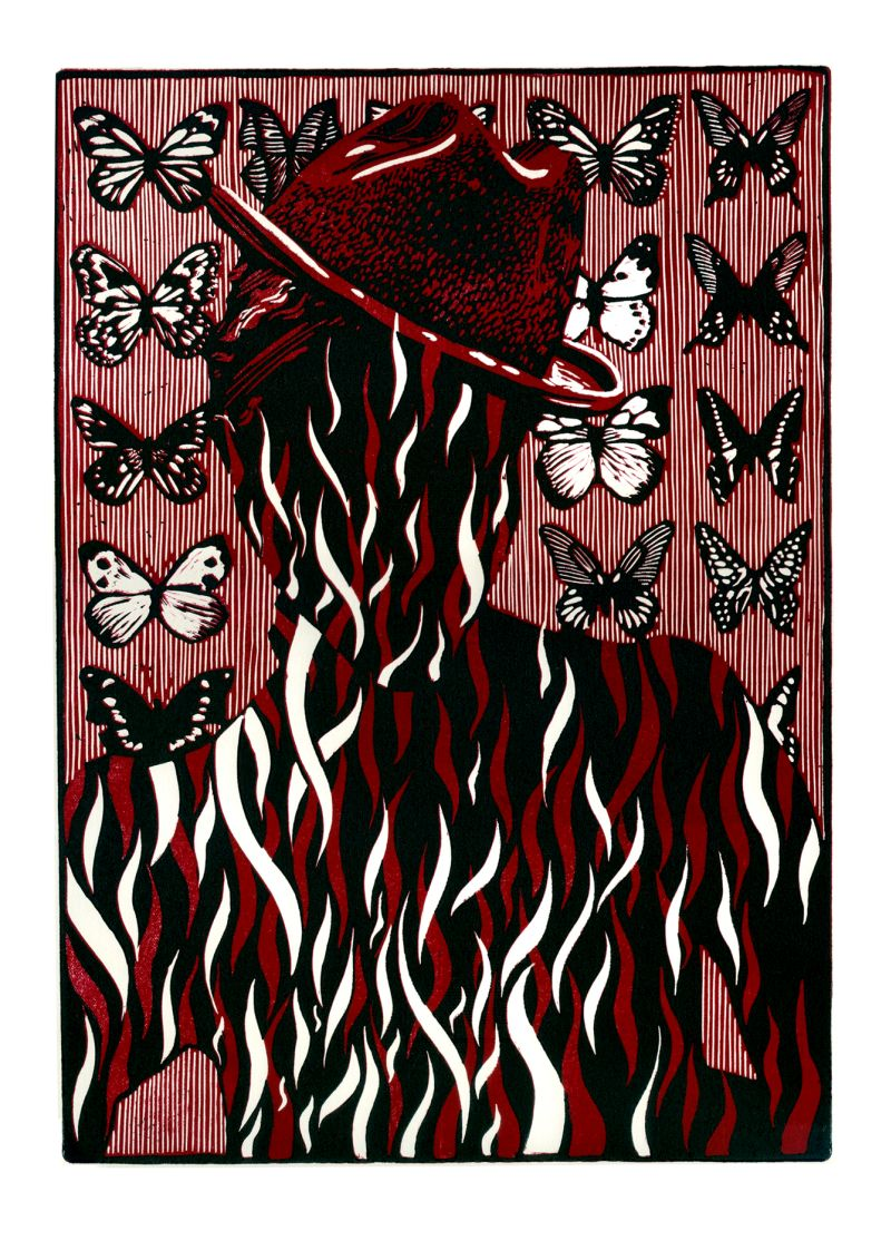 "Aleksandra Prusinowska, ""Kolekcjoner"", linoryt (źródło: teka kolekcjonerska organizatora)"