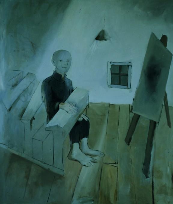 La classe morte I/Klasa szkolna I, 1982, akryl, płótno, 120x110, depozyt w MNK (źródło: materiały prasowe organizatora)