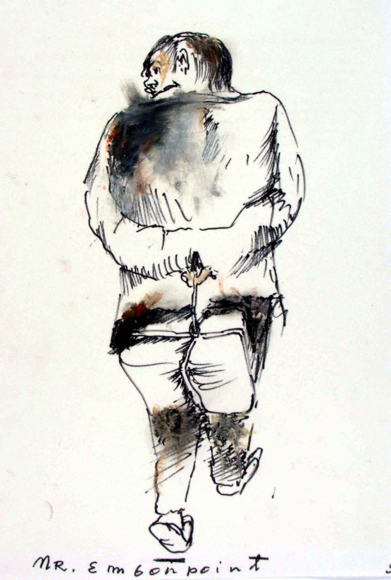 """Mr Embonpoint, rysunek do spektaklu """"Gdzie są niegdysiejsze śniegi"""", 1979, pastel, flamaster, zbiory prywatne (źródło: materiały prasowe organizatora)"""