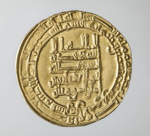 Dinar, (awers), złoto, Abbasydzi, rok 932, kolekcja prywatna, fot. Jacek Budyn (źródło: materiał prasowy organizatora)