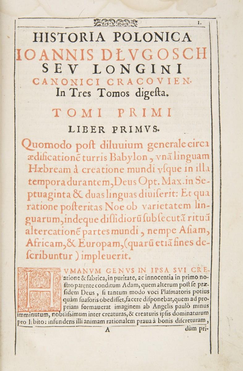 """Karta z pierwszego wydania drukiem """"Historii Polskiej"""" Jana Długosza z 1615 roku (źródło: materiały prasowe MNK)"""