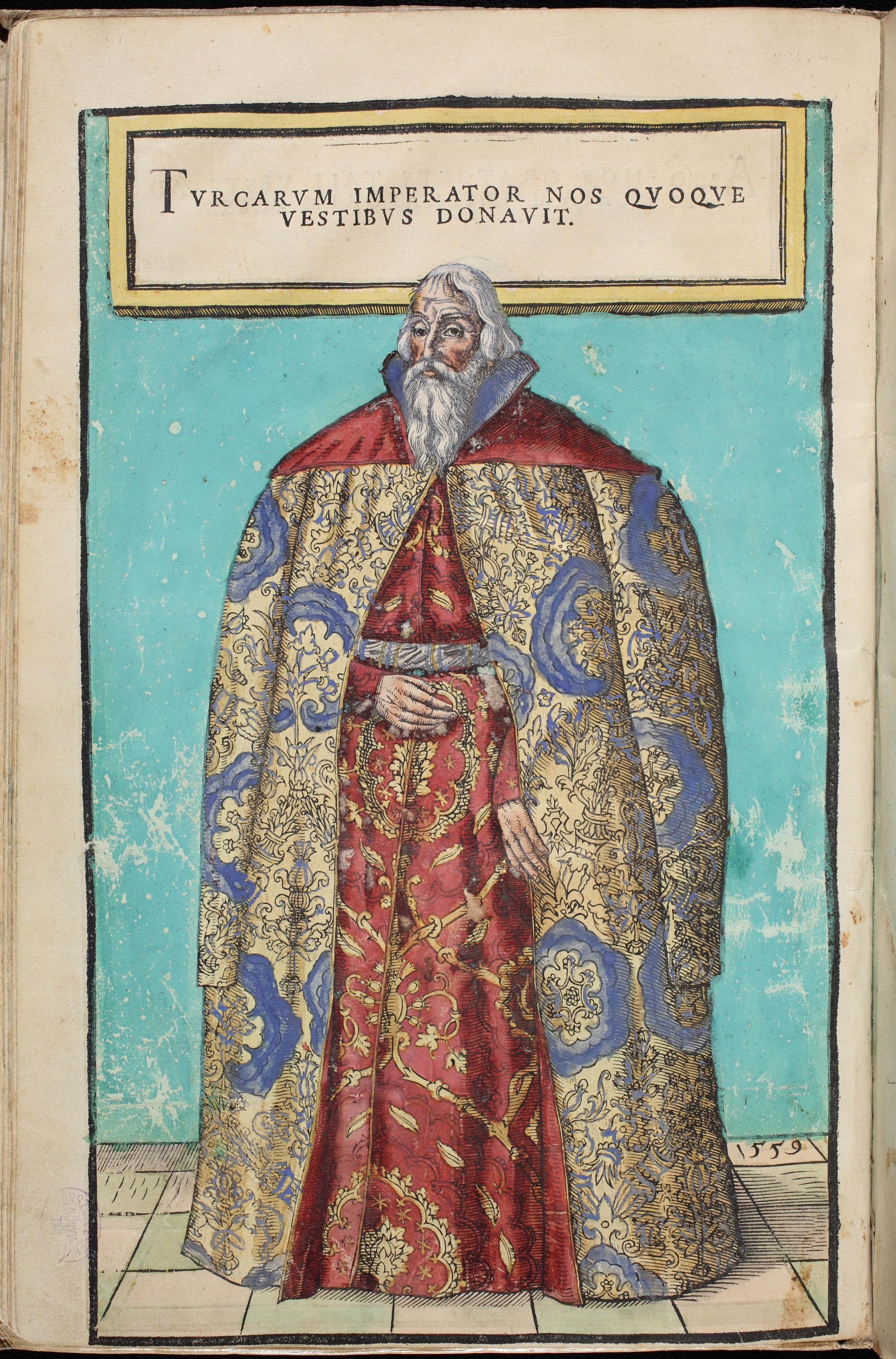 """Donat Hübschmann, """"Zygmunt Herberstein w szacie honorowej podarowanej mu przez sułtana Sulejmana"""", 1560 r., Biblioteka Narodowa Széchényi, Budapeszt (źródło: materiały prasowe)"""