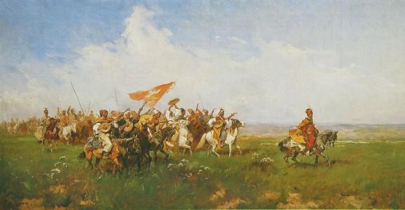 """Józef Brandt, """"Powitanie stepu"""", 1874, wł. prywatna, fot. Stanisław Markowski (źródło: materiały prasowe)"""