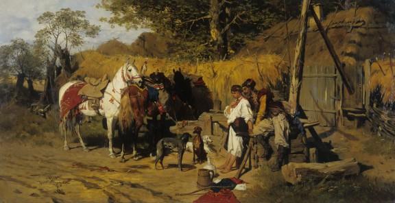 """Józef Brandt, """"Zaloty. Kozak z dziewczyną przy studni"""", 1875, wł. Muzeum Narodowego w Kielcach, fot. Paweł Suchanek (źródło: materiały prasowe)"""