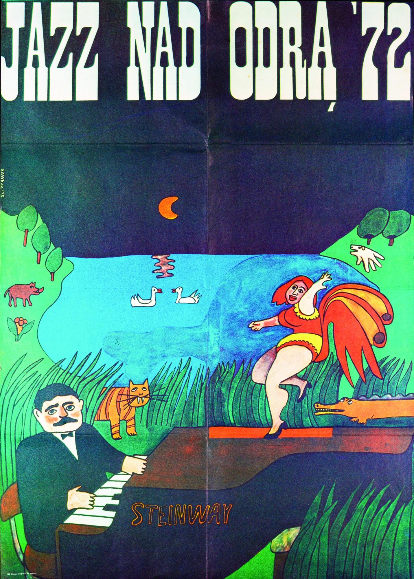 Jan Sawka, plakat Jazz nad Odra '72, Zakład Narodowy im. Ossolińskich we Wrocławiu (źródło: materiały prasowe organizatora)