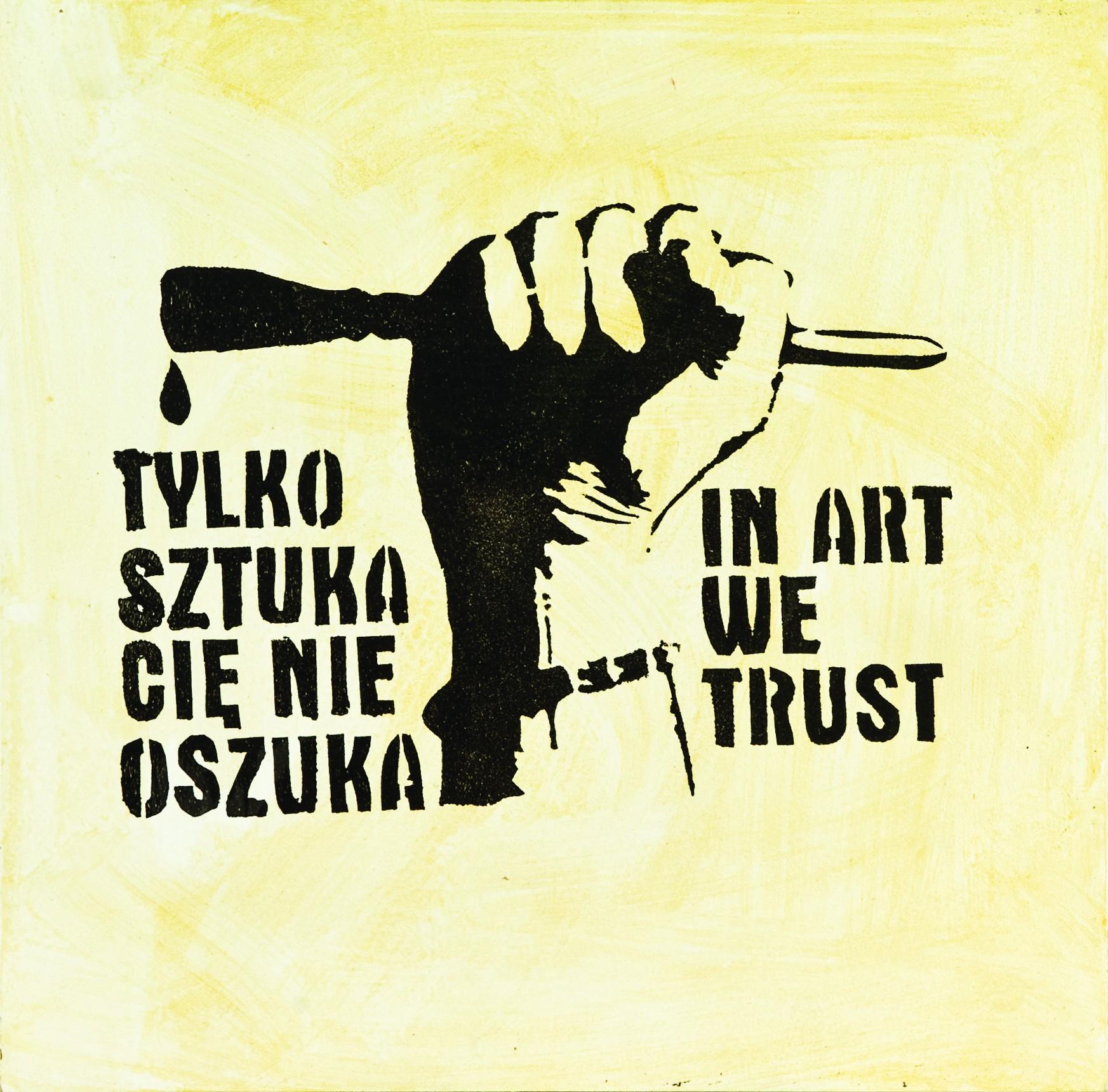 Paweł Jarodzki, Tylko sztuka cię nie oszuka / In Art We Trust, 2001 (2008), fot. Małgorzata Kujda ⓒ Dolnośląskie Towarzystwo Zachęty Sztuk Pięknych (źródło: materiały prasowe organizatora)