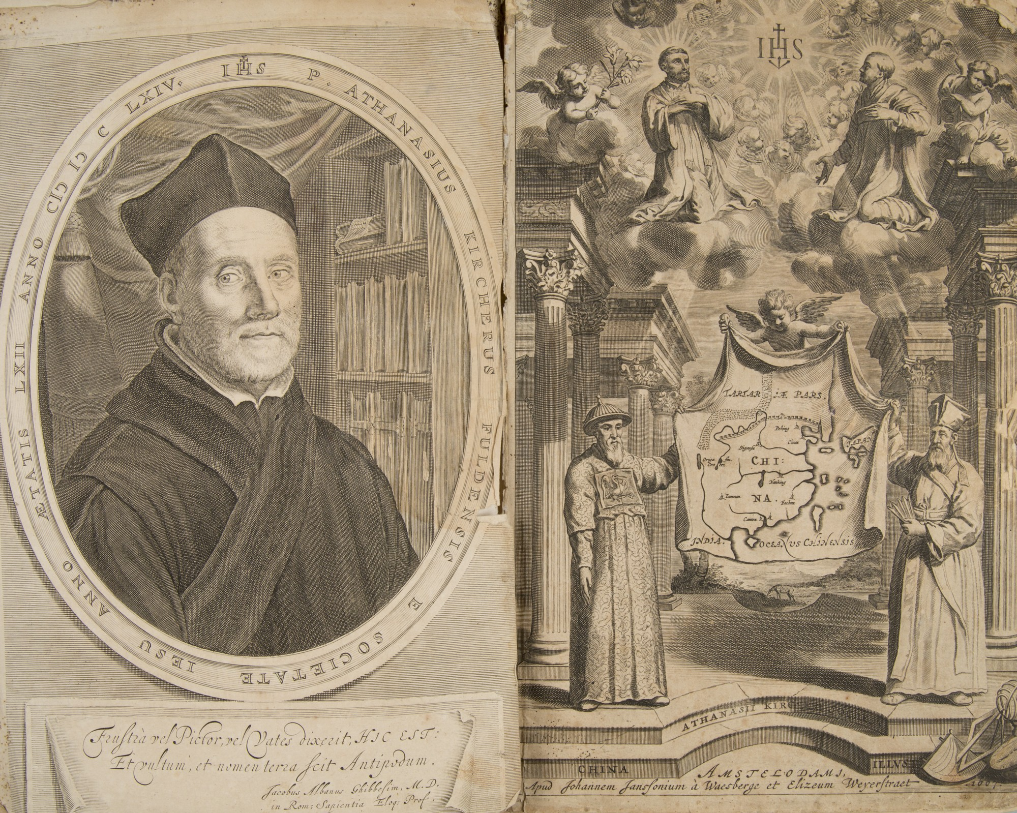 Athanasius Kircher, China Monumentis, Amsterdam, 1667 – portret autora i frontispis, fot. MNK (źródło: materiały prasowe organizatora)