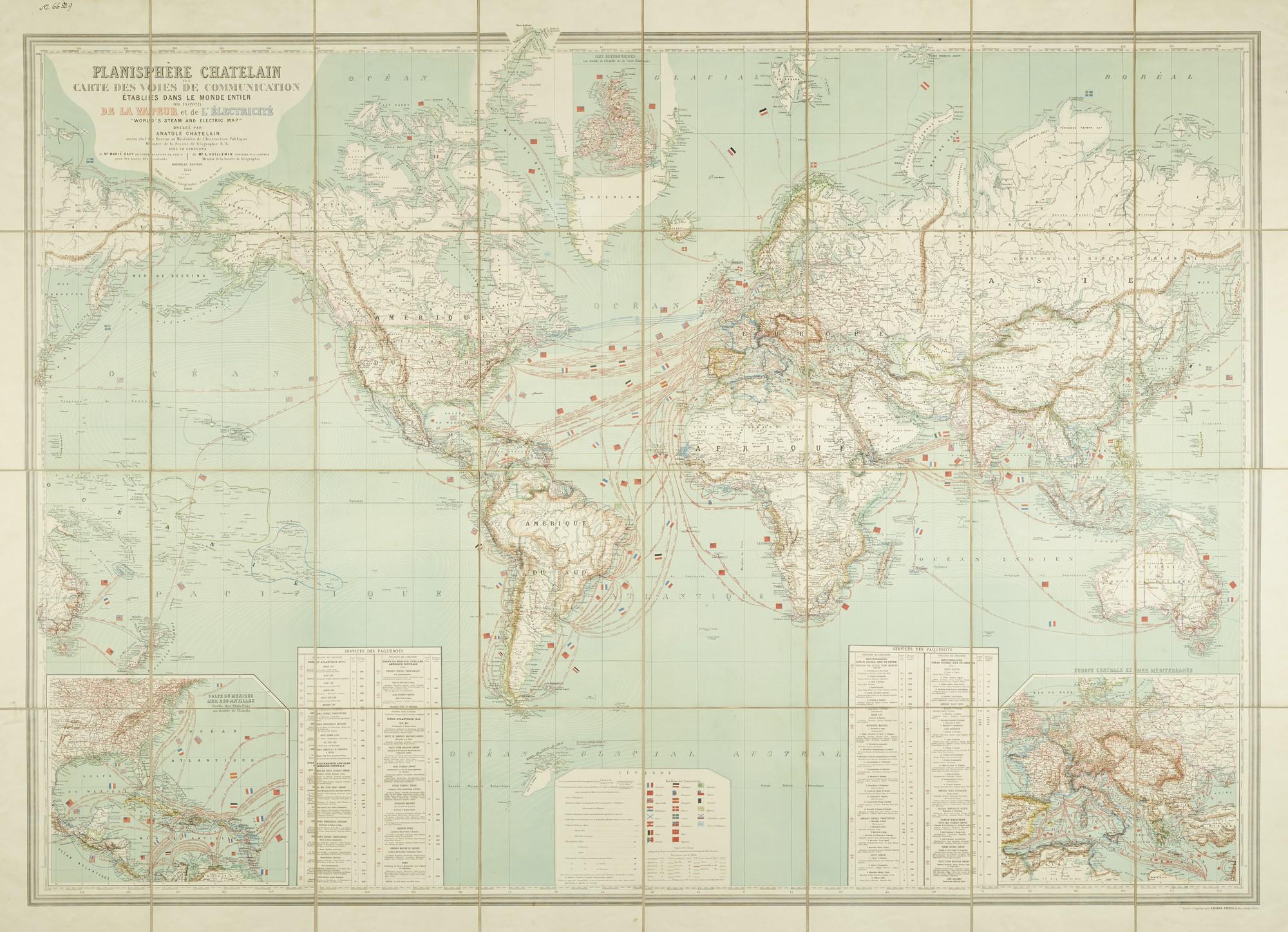 Anatole Châtelain, Planisphère, Paris, 1884 – mapa świata z połączeniami morskimi, drogami kolejowymi i wodnymi oraz liniami telegraficznymi, fot. MNK (źródło: materiały prasowe organizatora)