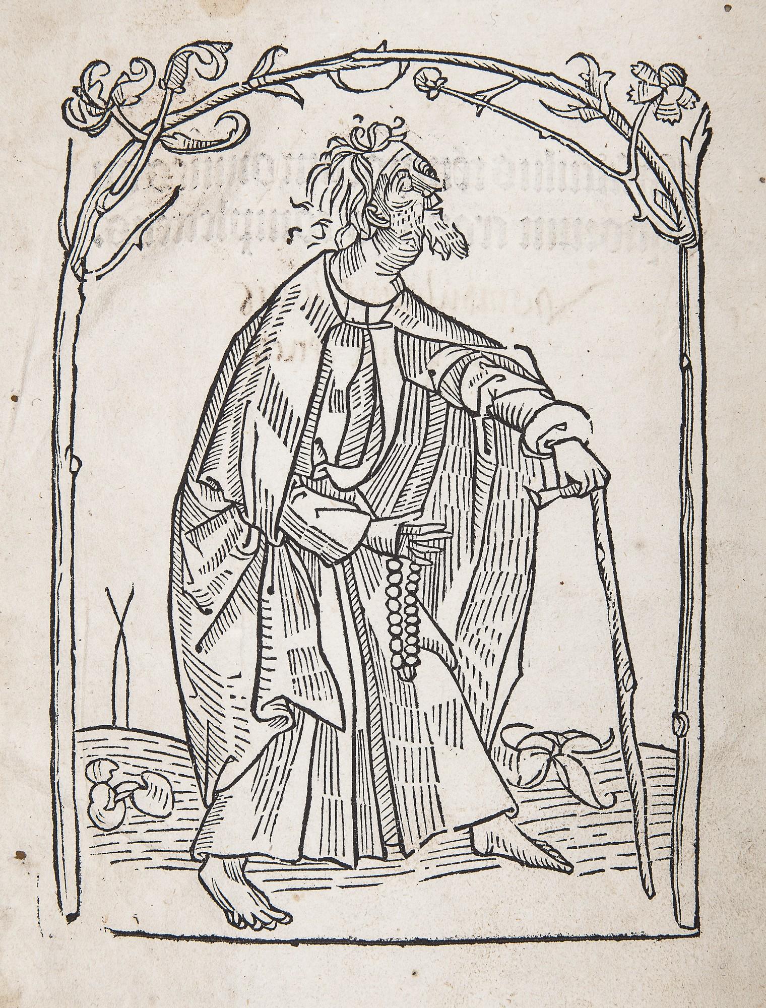 Werner Rolewinck, Fasciculus Temporum. Strassburg, ok. 1490 – mnich pielgrzym, drzeworyt, fot. MNK (źródło: materiały prasowe organizatora)