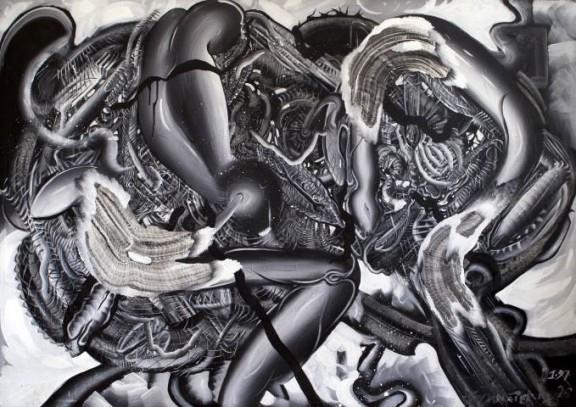 "Vít Ondráček ""Czarna tęcza"", akryl na płótnie, 190 x 129 cm, 1995-1997 (źródło: materiały prasowe)"
