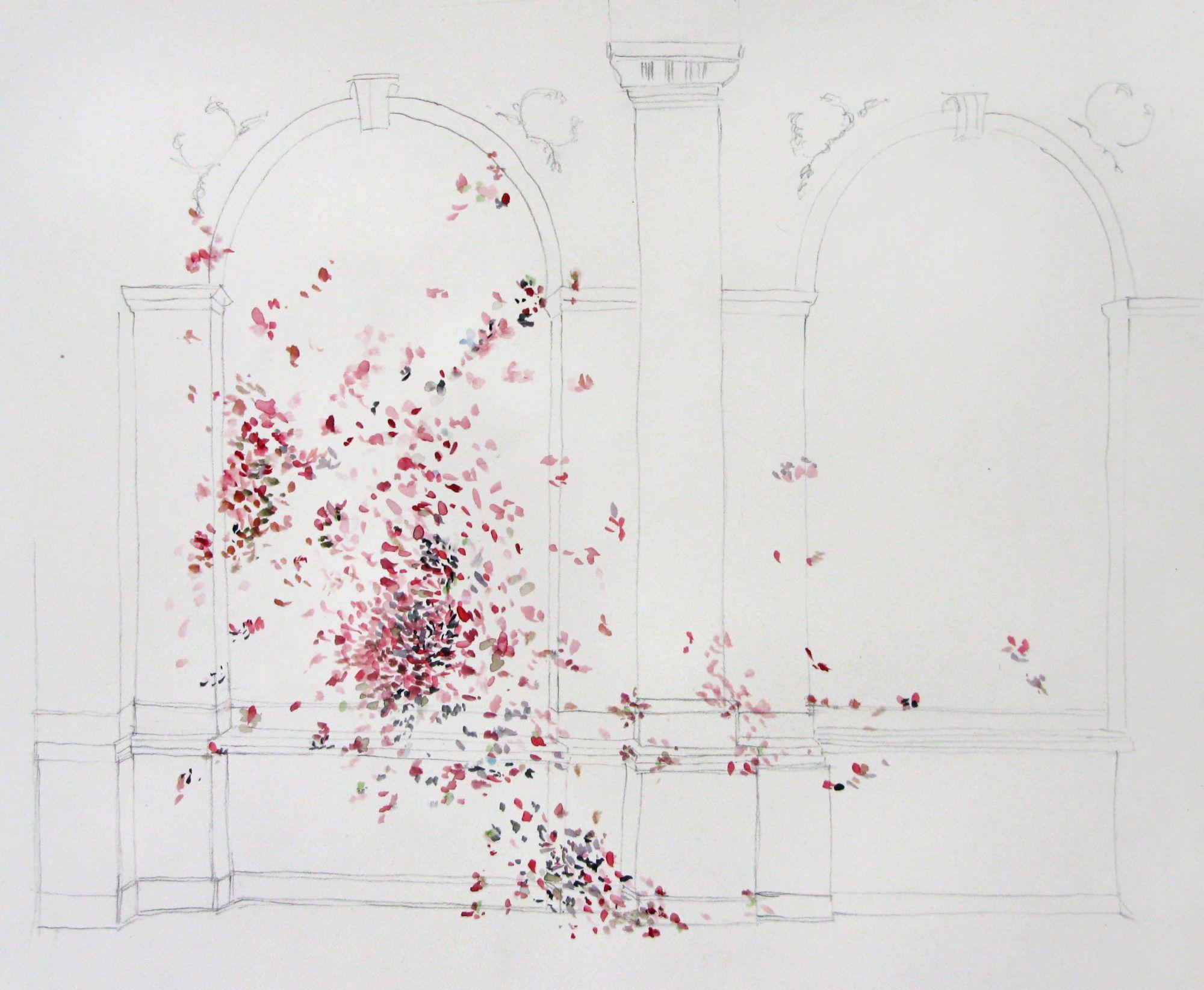 """""""Ogrody"""", Anna Panek, """"Zakwit"""", 2015, instalacja malarska, projekt pracy na wystawie (źródło: materiały prasowe)"""