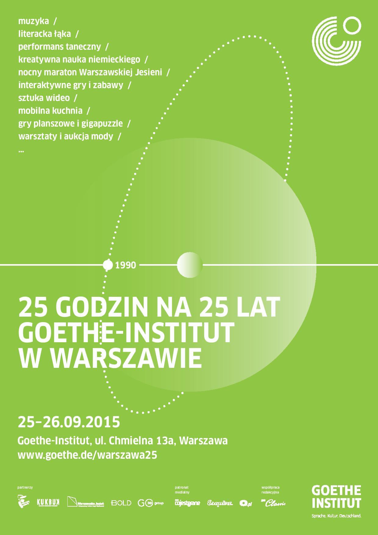 25 godzin na 25 lat Goethe-Institut w Warszawie – plakat (źródło: materiały prasowe organizatora)