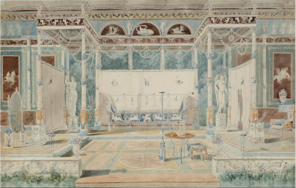 """Charles Percier, """"Projekt dekoracji w stylu pompejańskim"""", 1793, Paryż, Bibliothèque Thiers, fot. © François Doury (źródło: materiały prasowe organizatora)"""
