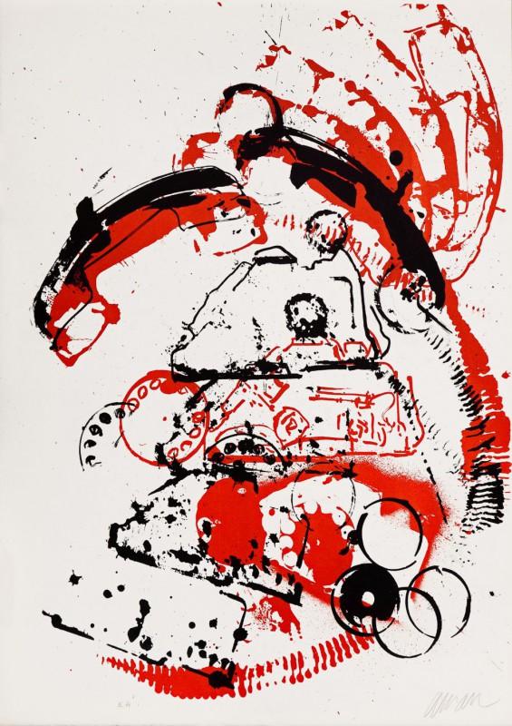 """Arman, """"Wnętrza rzeczy I – Telefon"""", 1971, litografia, EA, 65 x 48,8, Kolekcja CGII – inv. OE 6794 © ADAGP (źródło: materiały prasowe)"""