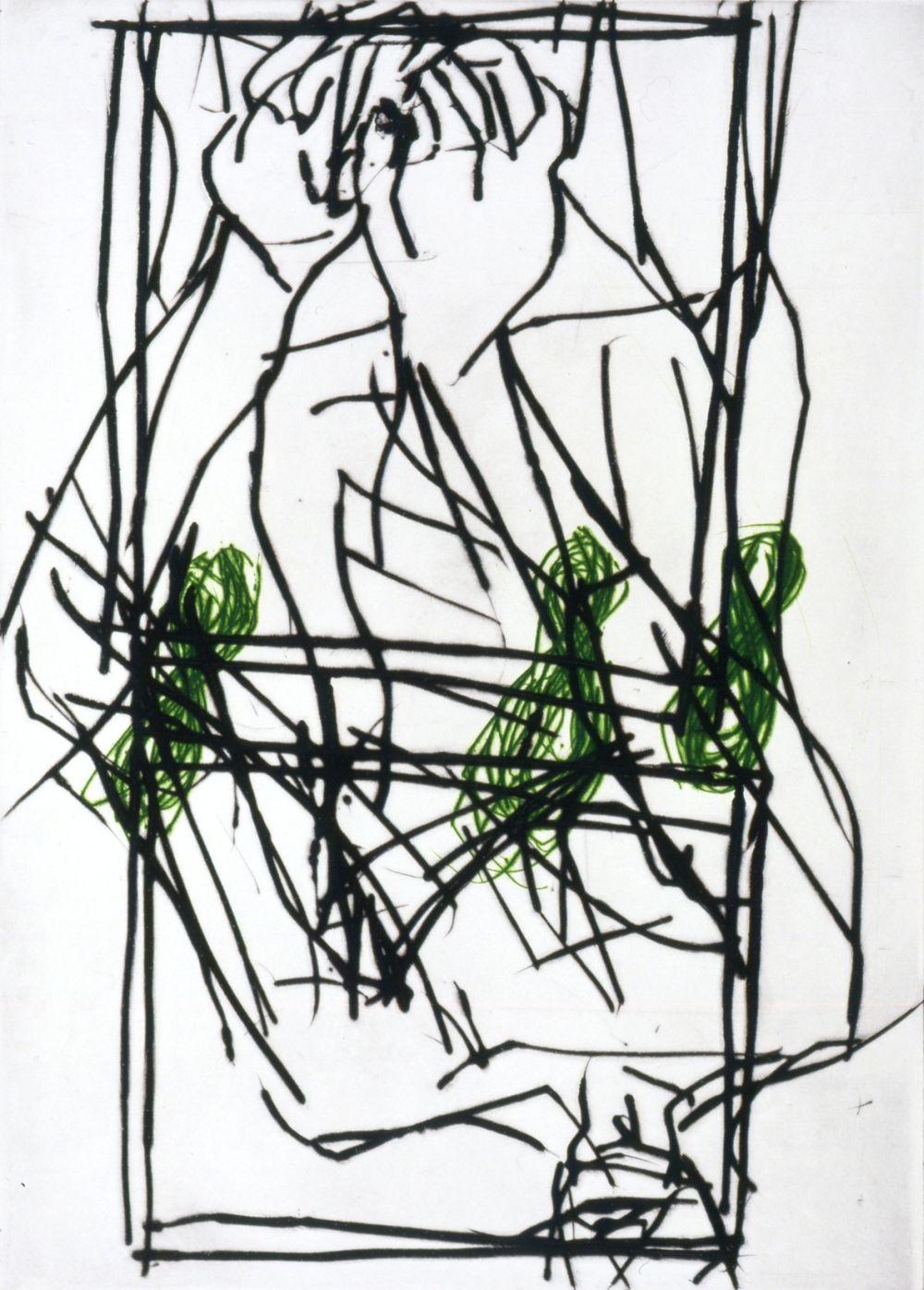 Georg Baselitz, Trzy lampy, 1995-1996, sucha igła, 12/12, 75,5 x 56,5 cm, Kolekcja Miasta La Louvière, depozyt CGII – inv. OE 1137 © Georg Baselitz 2015 (źródło: materiały prasowe)