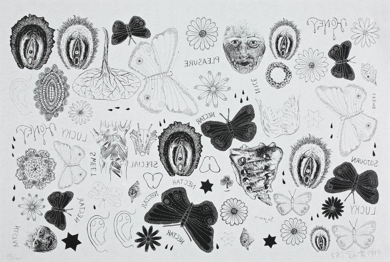 Kiki Smith, Tattoo Print, 1995, serigrafia, 38/100, 50,8 x 76,3 cm, Kolekcja CGII – inv. OE 6193 © Kiki Smith (źródło: materiały prasowe)