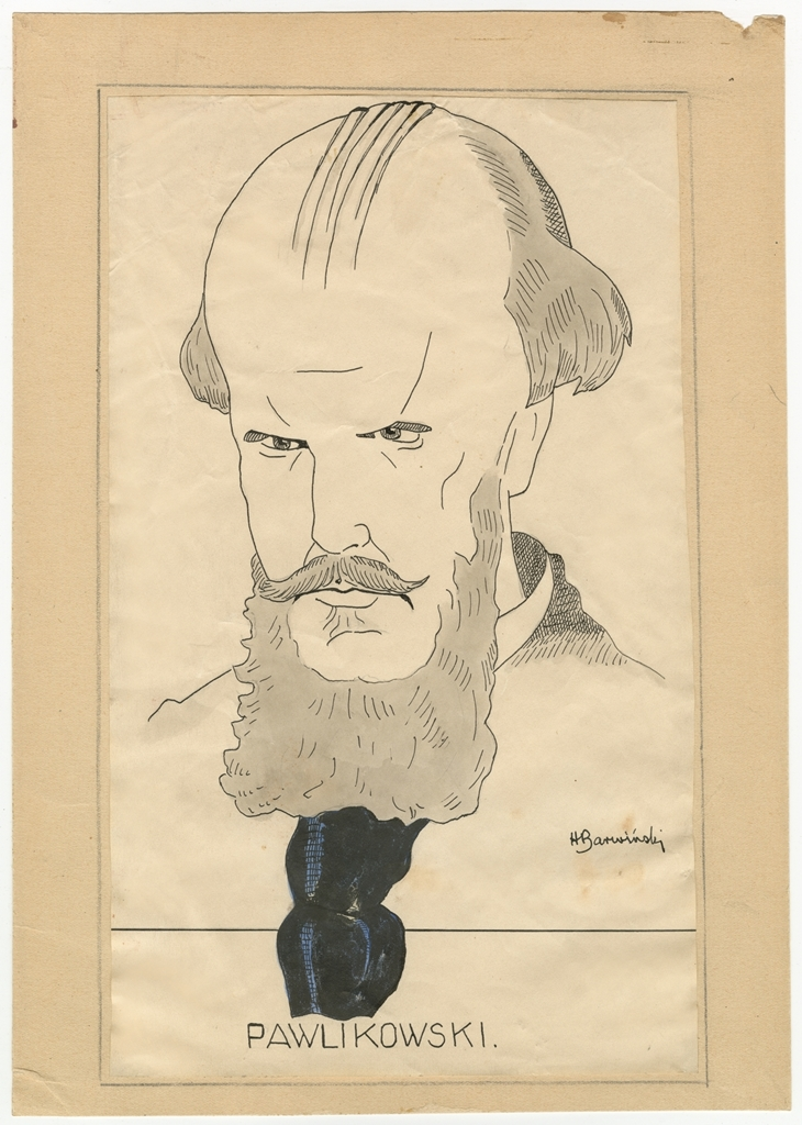 Henryk Barwiński, karykatura Tadeusza Pawlikowskiego, b.m., ok. 1913, wł. MHK (źródło: materiały prasowe)