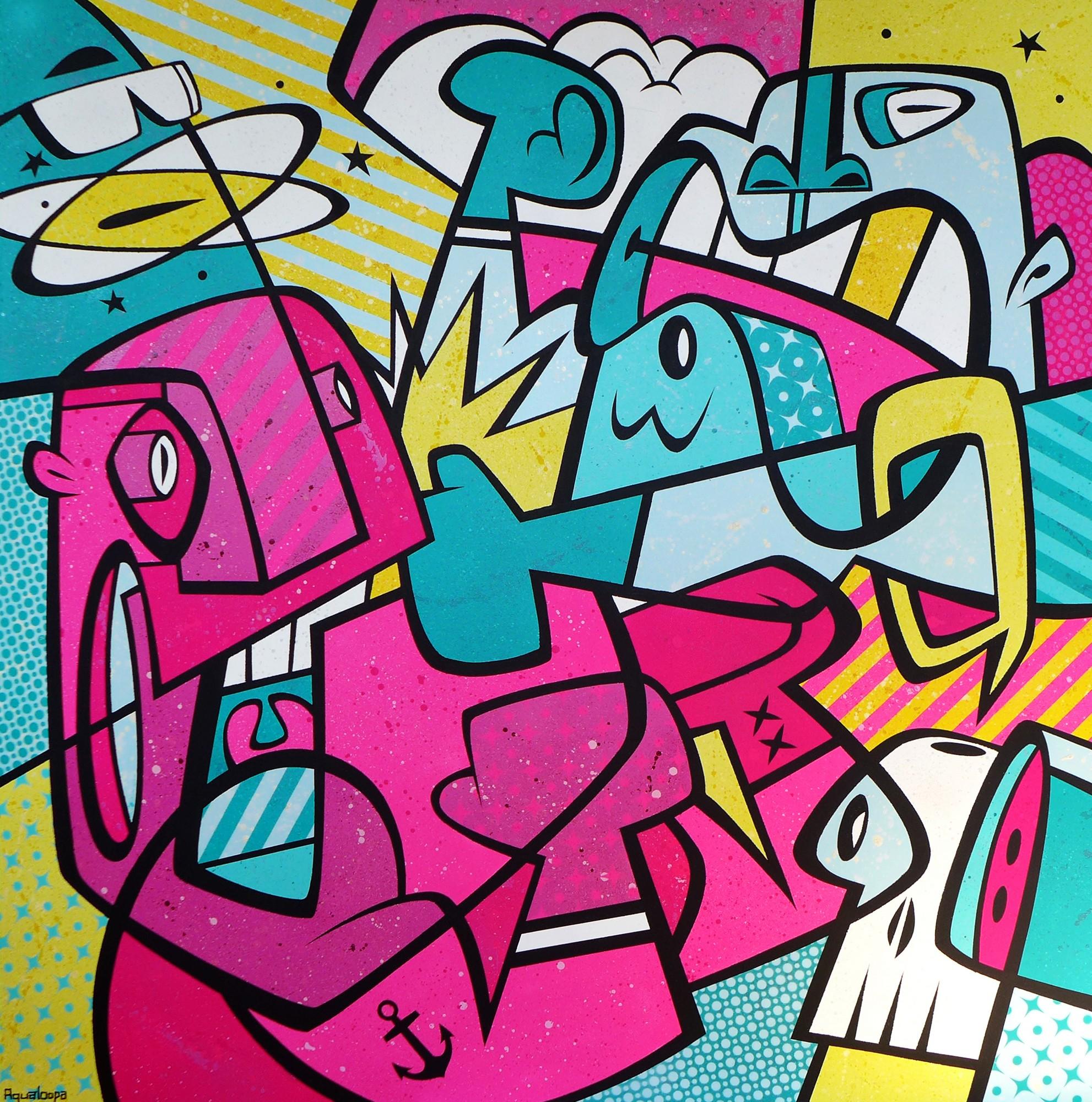 """Aqualoopa (Igor Chołda), """"Box'n'Kox"""", akryl, płótno, 120x120 cm (źródło: materiały prasowe organizatora)"""
