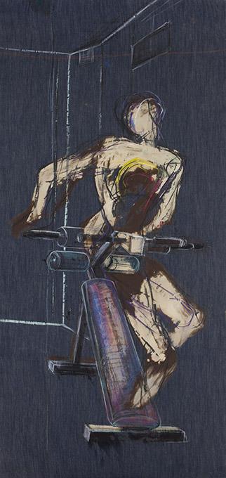 """Mariusz Mikołajek, """"Fitness room 2"""", z cyklu """"Hand Made Indigo Art"""", 2010 (źródło: materiały prasowe organizatora)"""