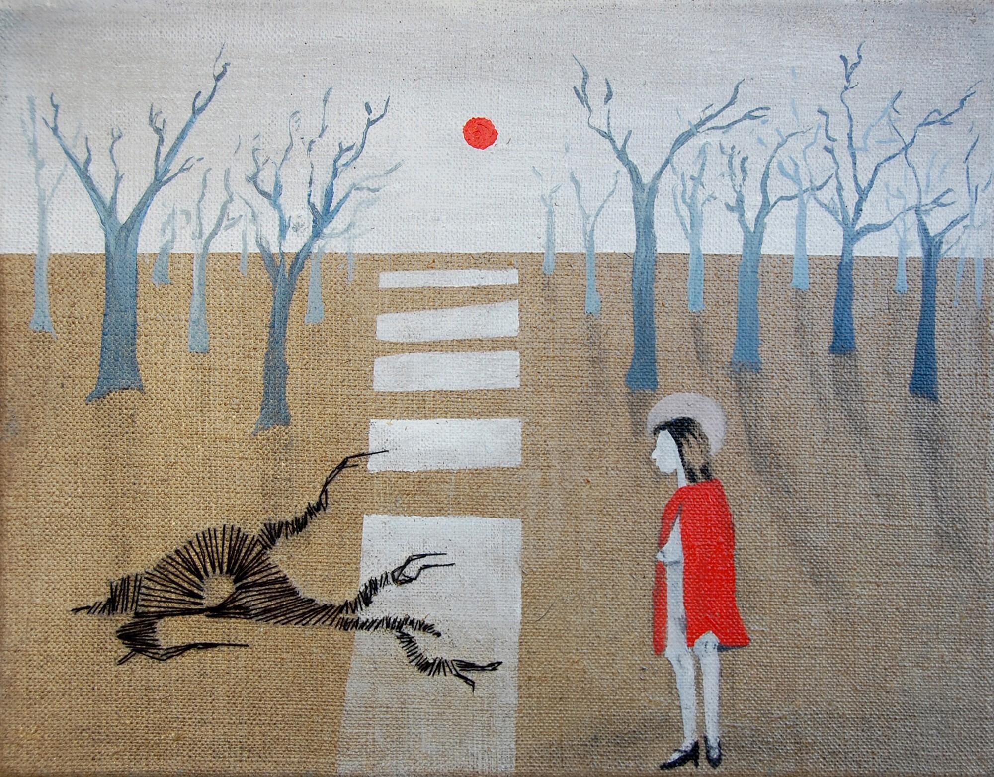 """Monika Mausolf, """"Czerwony Kapturek"""", 2015, olej na płótnie, 30x24, fot. autorka (źródło: materiały prasowe)"""