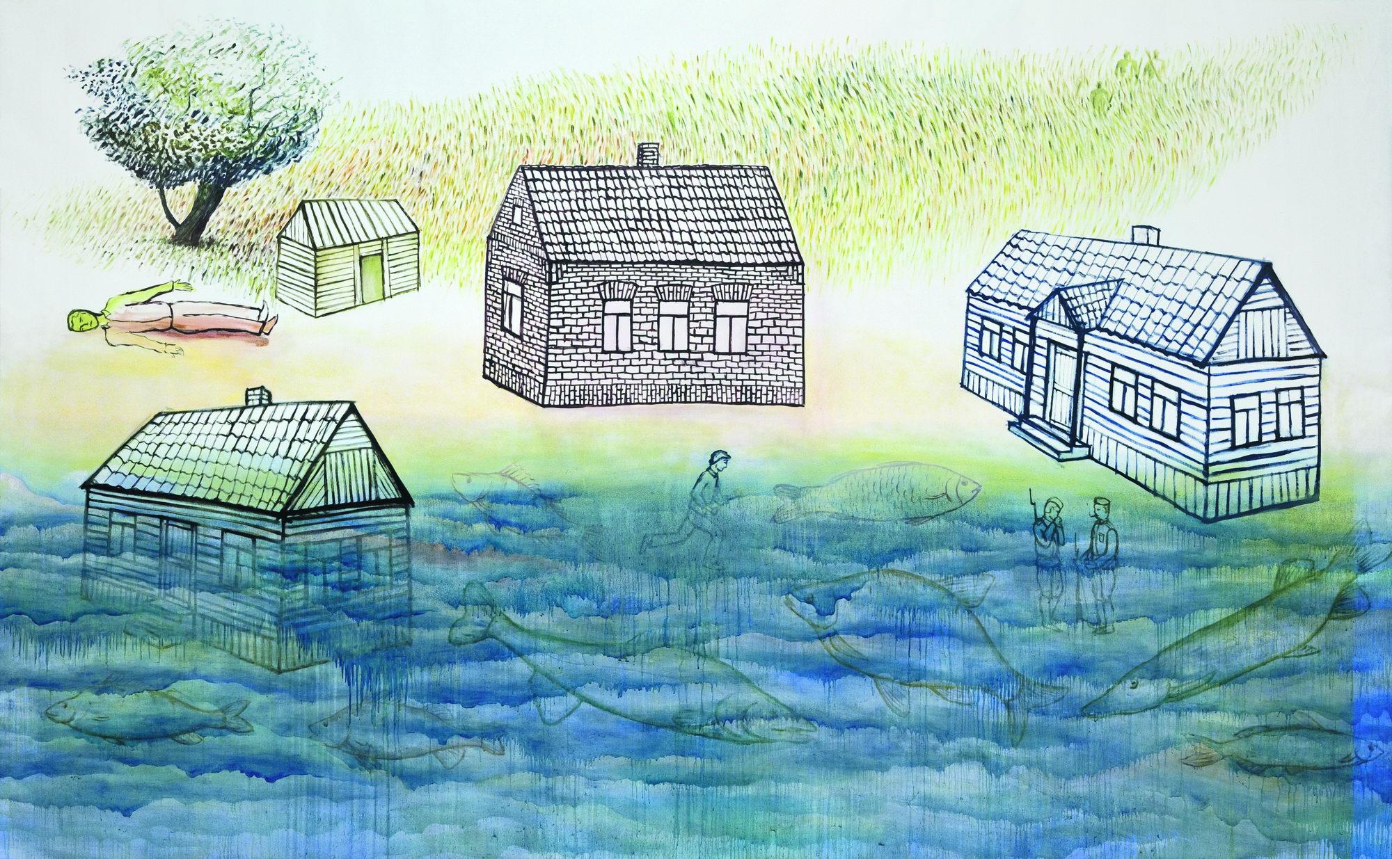 """Aleksandra Czerniawska, """"Rzeka"""", 2009, olej na płótnie, 180x291 cm (źródło: materiały prasowe)"""