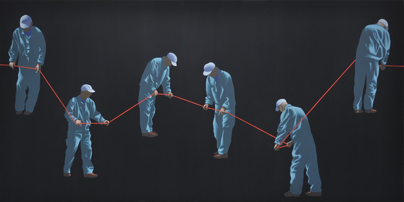 """Dariusz Milczarek, """"W poszukiwaniu najprostszego rozwiązania"""", 2014, 90x180 cm, tempera żółtkowa na płótnie (źródło: materiały prasowe)"""