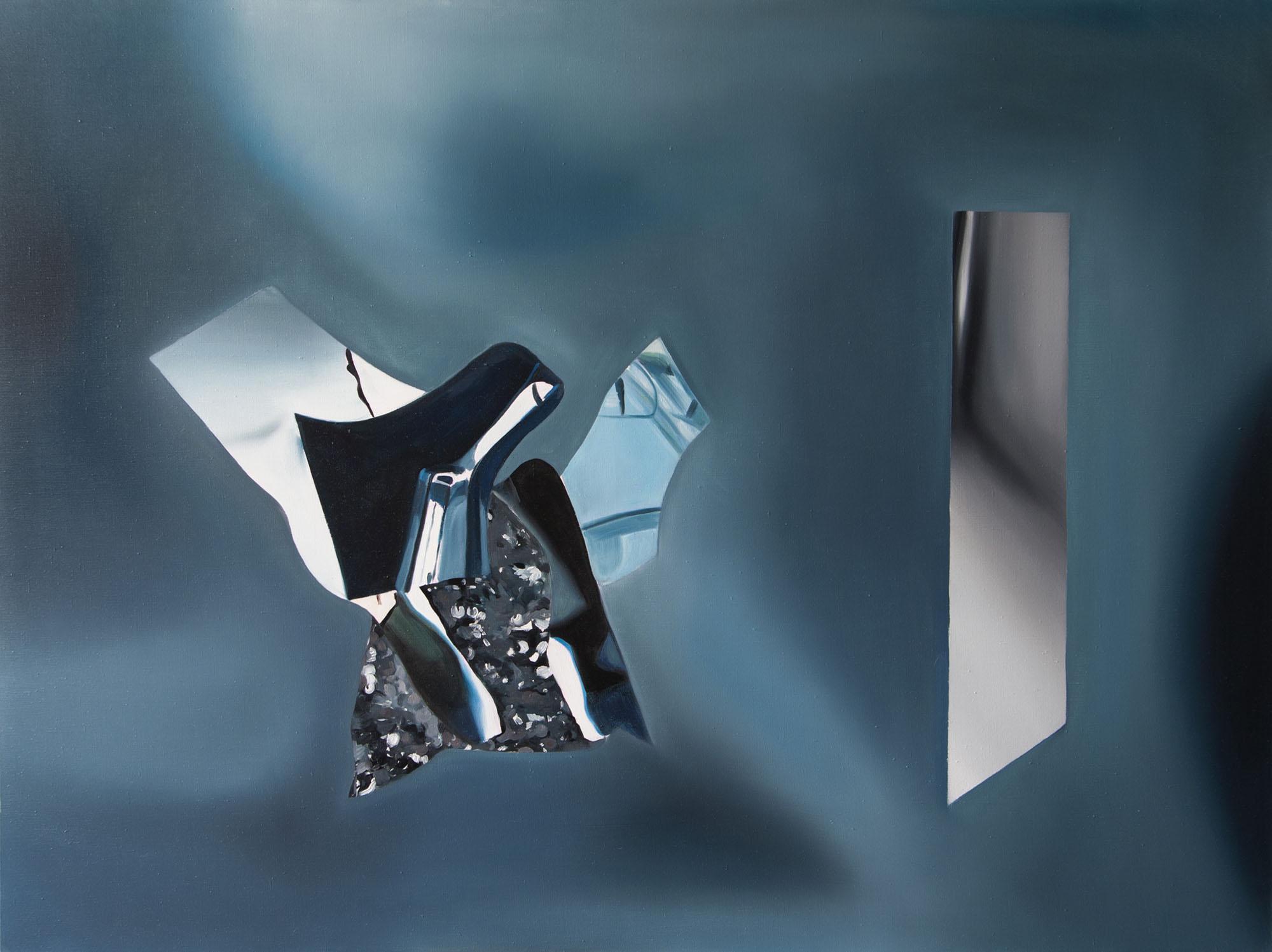 """Justyna Kabala, """"Niebieski Kod"""", 2014, 90x120 cm, olej na płótnie (źródło: materiały prasowe)"""