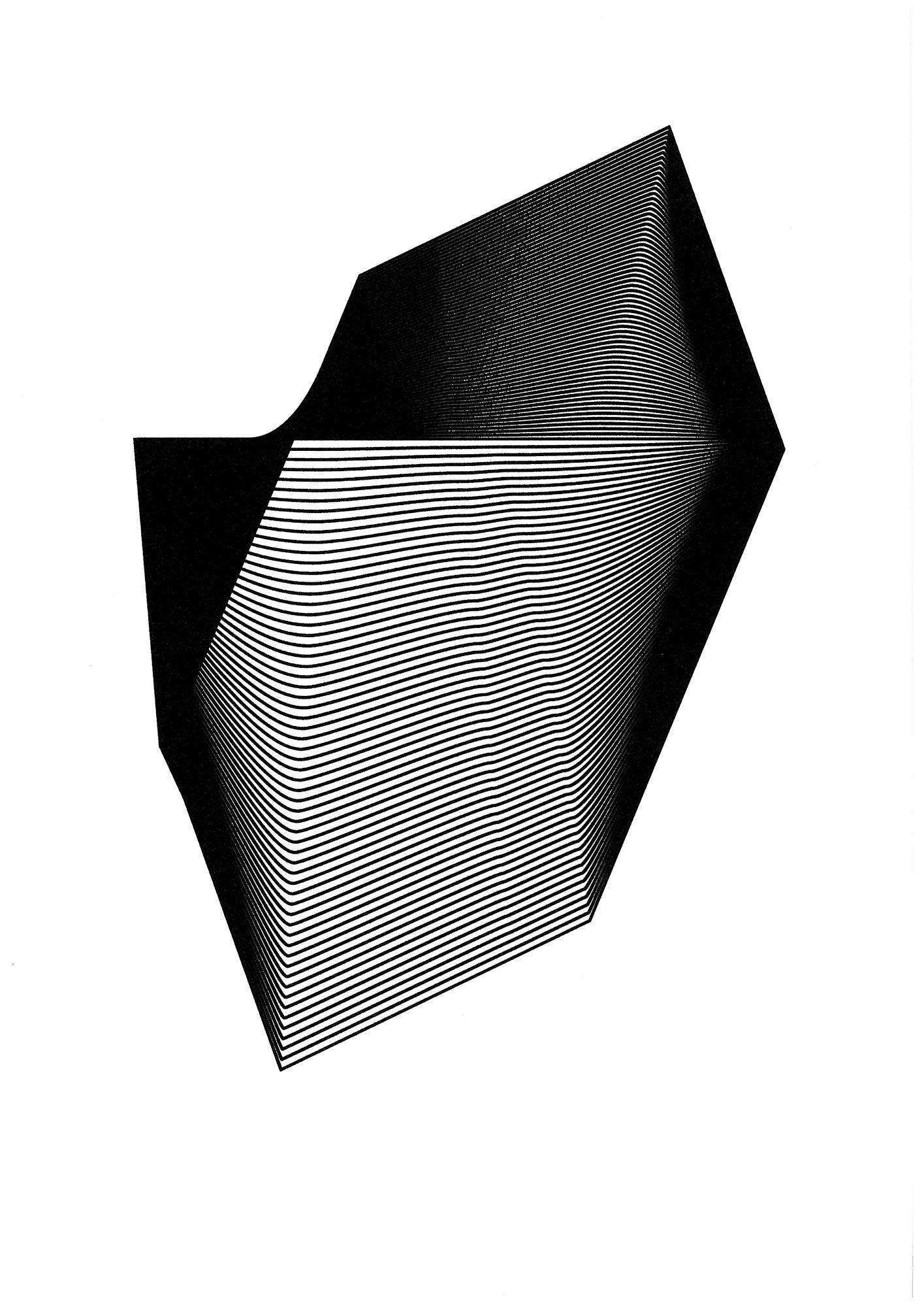 """Michał Kochański, """"Abstrakcja 5"""", 2014, A3, druk UV na siatce i na papierze (źródło: materiały prasowe)"""