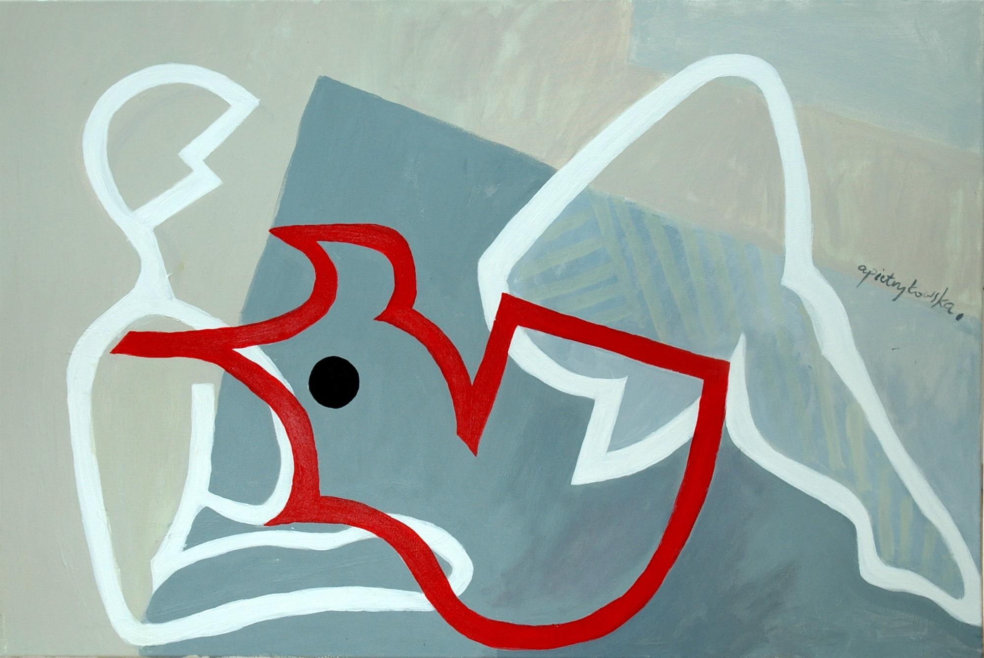 """Agnieszka Pietrzykowska, """"Akt lekki"""", 2011, akryl, płótno, 65x92 cm (źródło: materiały prasowe)"""