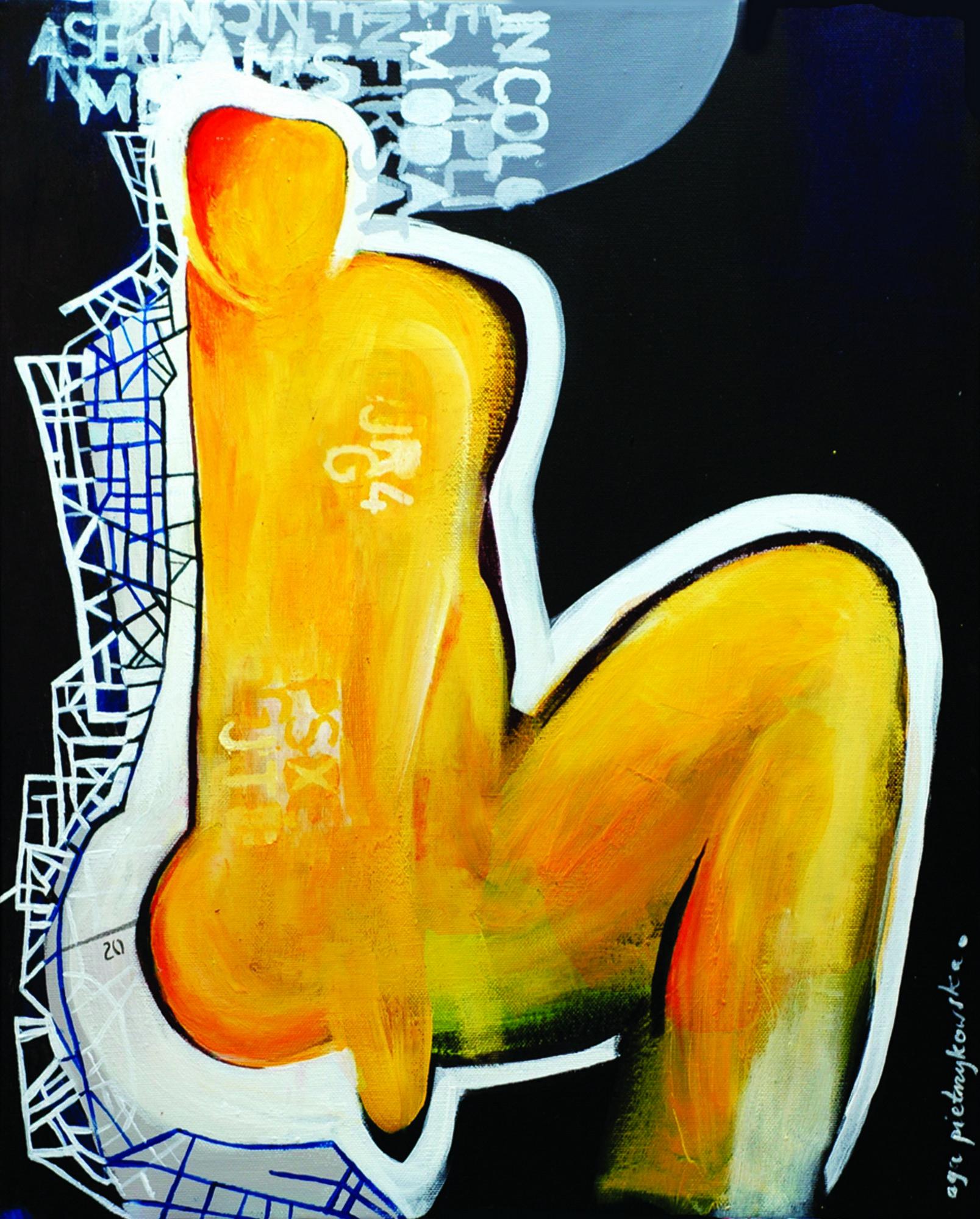 """Agnieszka Pietrzykowska, """"Akt żółty"""", 2015, akryl, płótno, 50x60 cm (źródło: materiały prasowe)"""