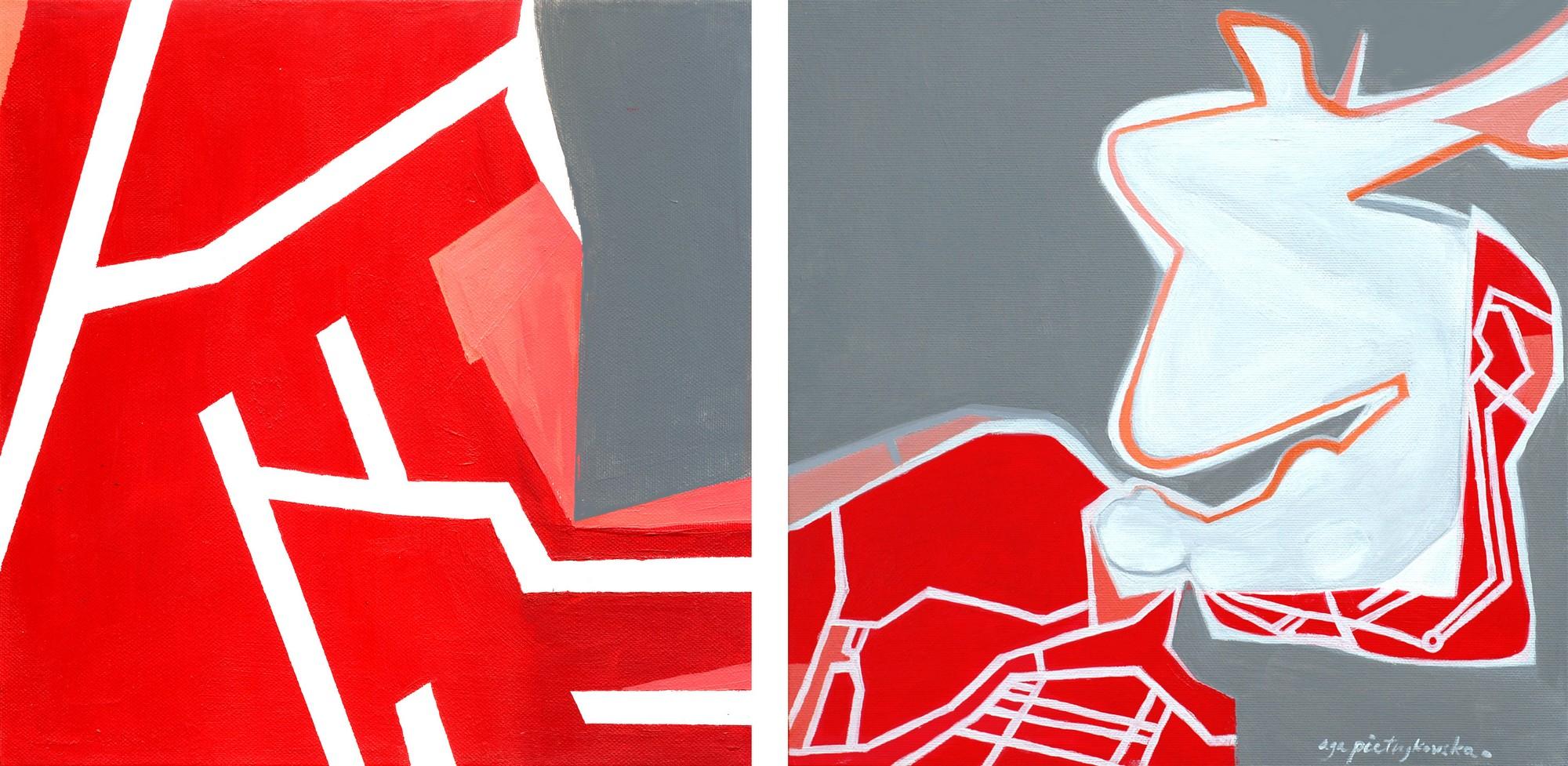 """Agnieszka Pietrzykowska, """"Amsterdam jest kobietą"""" (dyptyk), 2014, akryl, płótno, 30x60 cm (źródło: materiały prasowe)"""