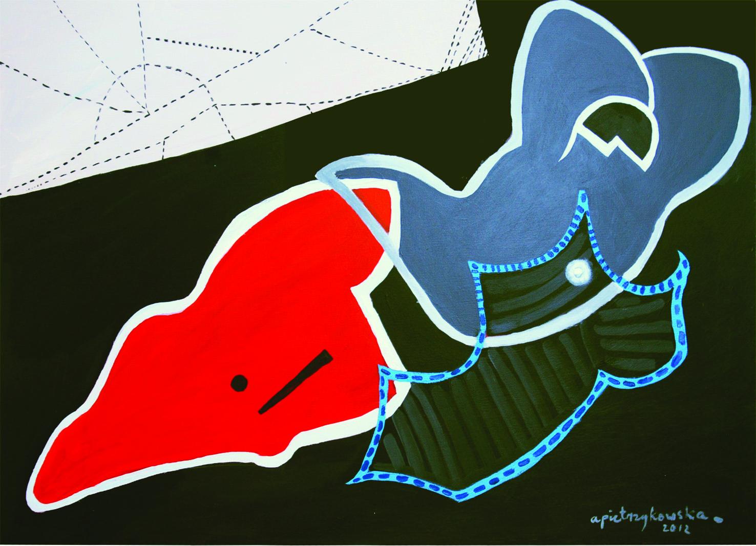 """Agnieszka Pietrzykowska, """"Kobieta w kostiumie"""", 2012, 92x65 cm (źródło: materiały prasowe)"""