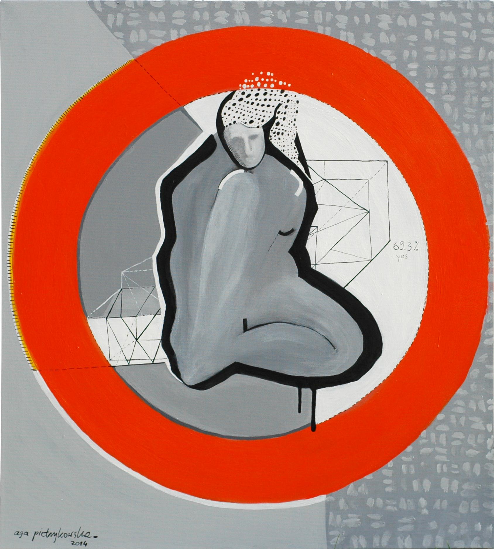 """Agnieszka Pietrzykowska, """"Kocham swoje ciało"""", 2014, akryl, płótno, 70x70 cm (źródło: materiały prasowe)"""