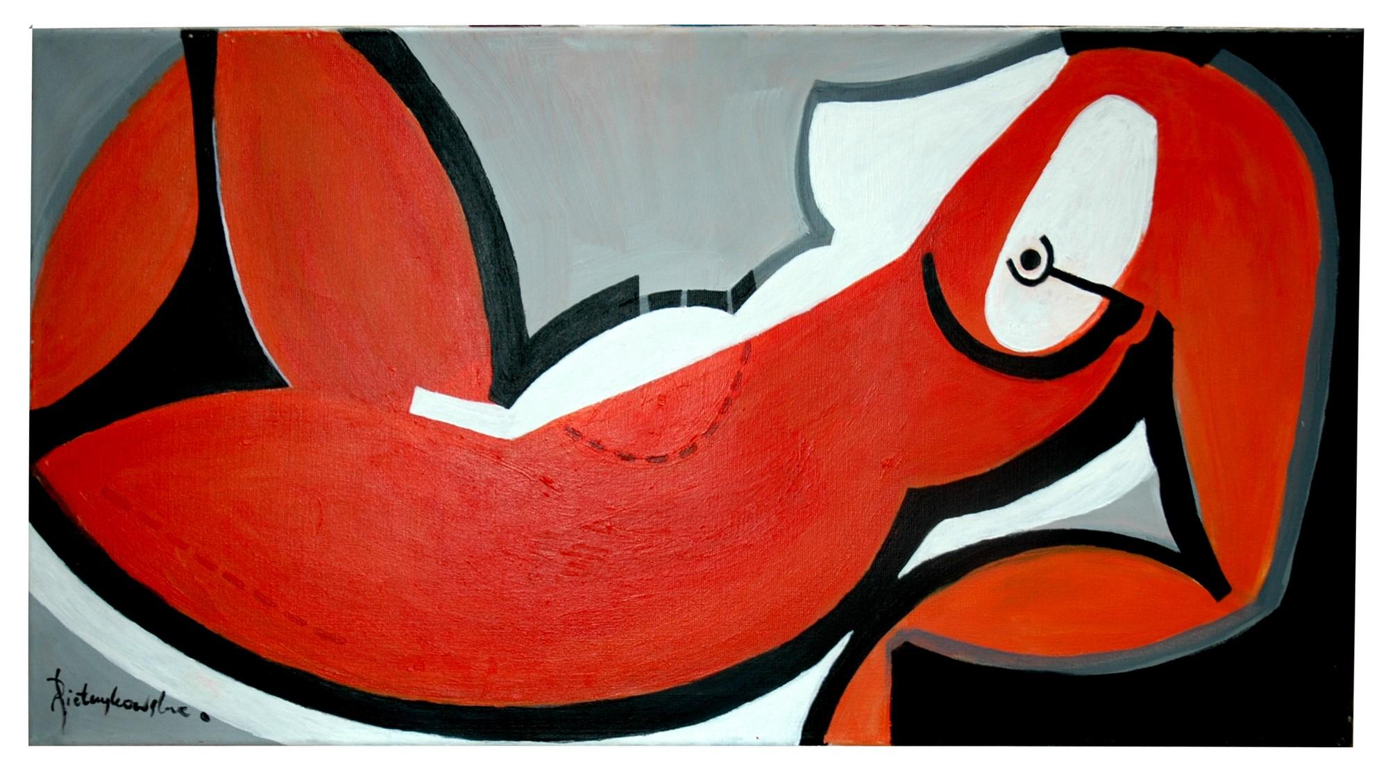 """Agnieszka Pietrzykowska, """"Macierzyństwo"""", 2011, akryl, płótno, 100x50 cm (źródło: materiały prasowe)"""